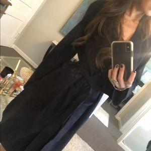 Vince navy suede trench coat size xs retail $1950